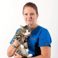 Animal Emergency Service Carrara Practice Manager, Lisa Thurston with cat