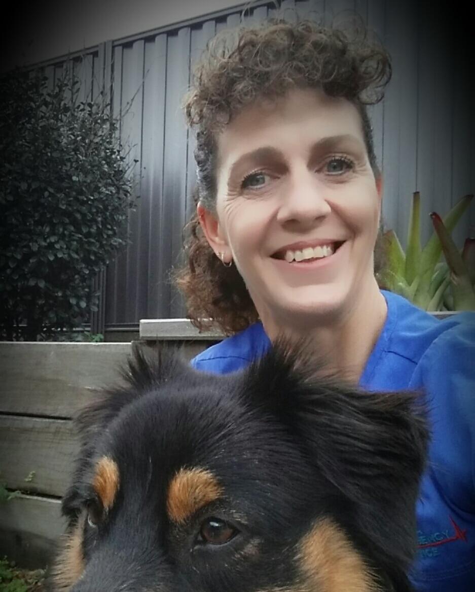 Animal Emergency Service Nurse, Tracey Gierke with dog