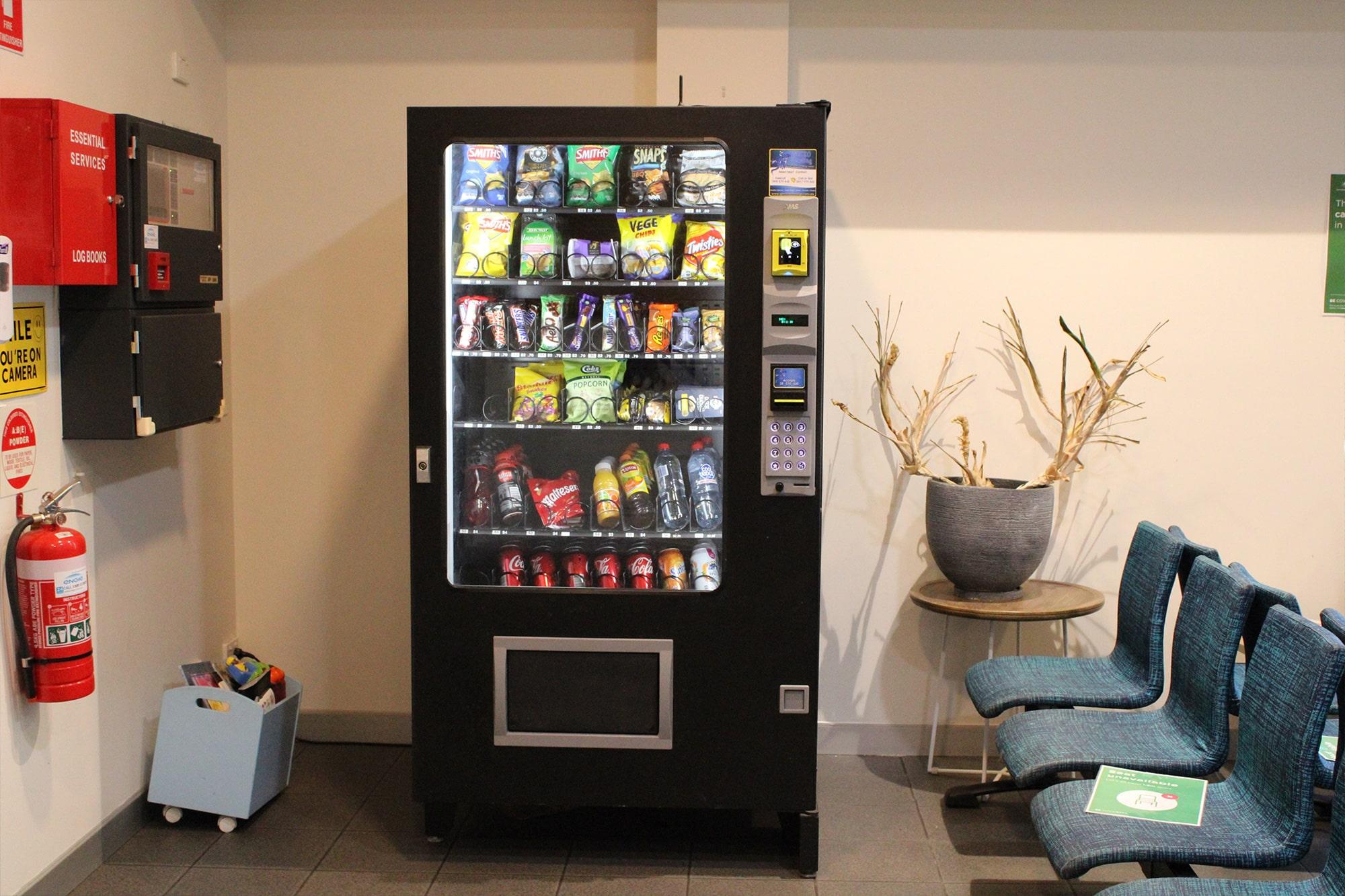 Waiting area and vending machine at Animal Emergency Service Carrara
