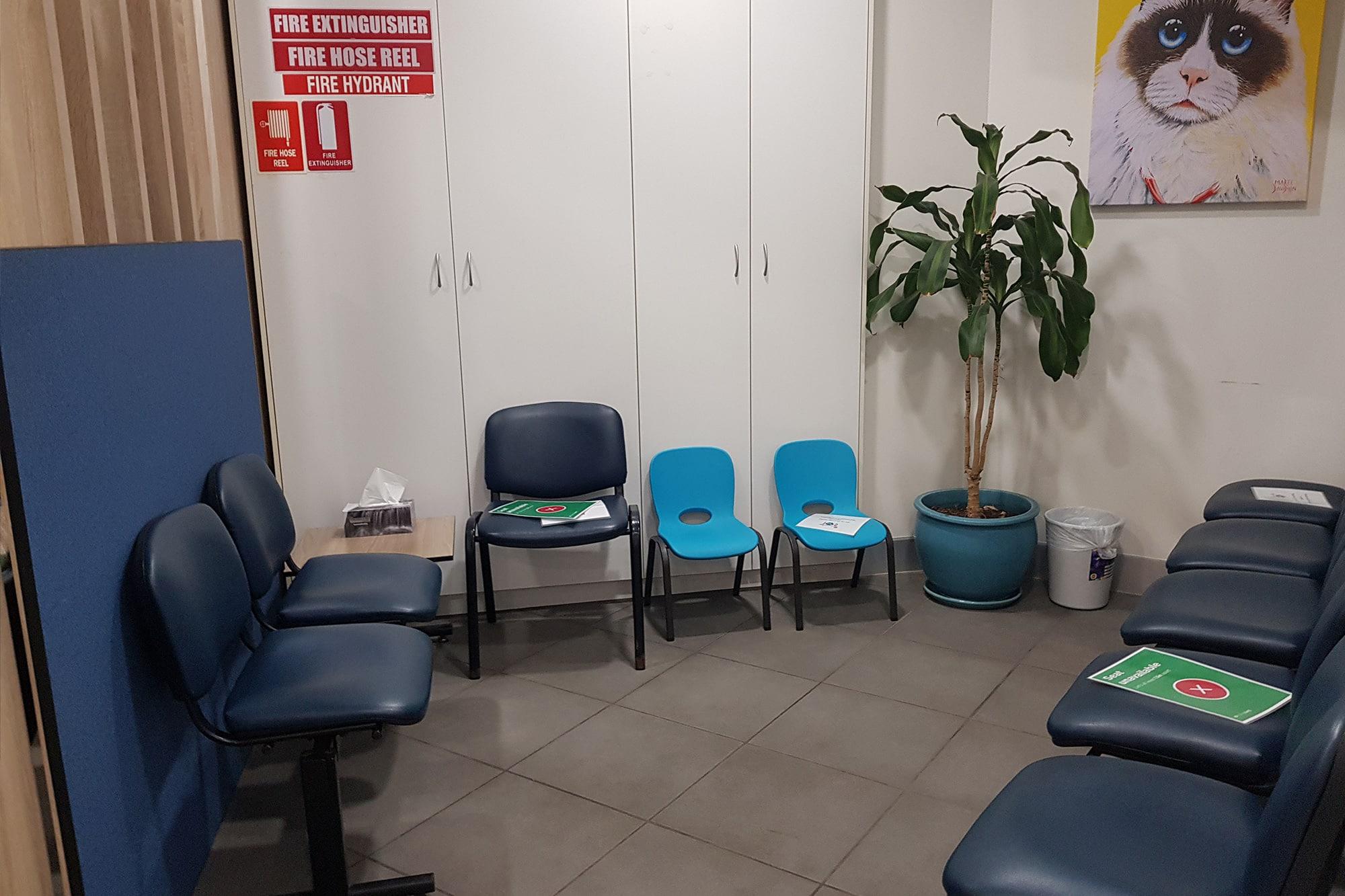 Waiting area at Animal Emergency Service Underwood